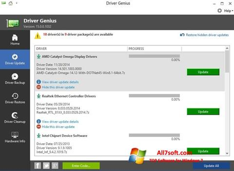 Skærmbillede Driver Genius Windows 7