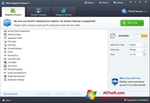 Skærmbillede Wise Registry Cleaner Windows 7