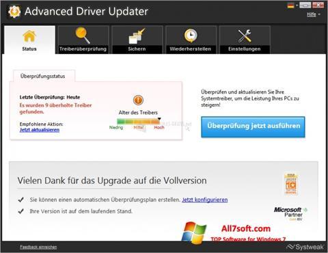 Skærmbillede Advanced Driver Updater Windows 7