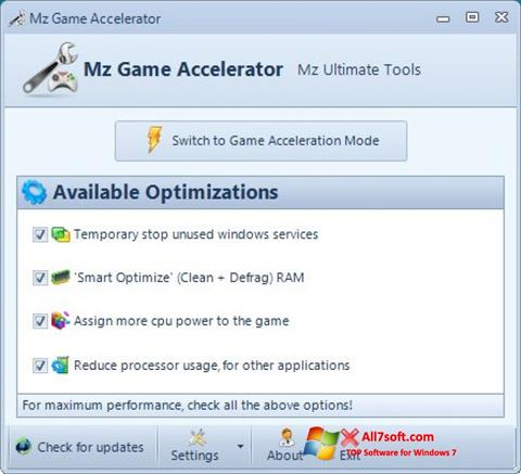 Skærmbillede Mz Game Accelerator Windows 7