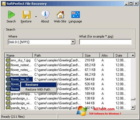 Skærmbillede SoftPerfect File Recovery Windows 7