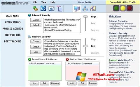 Skærmbillede Privatefirewall Windows 7