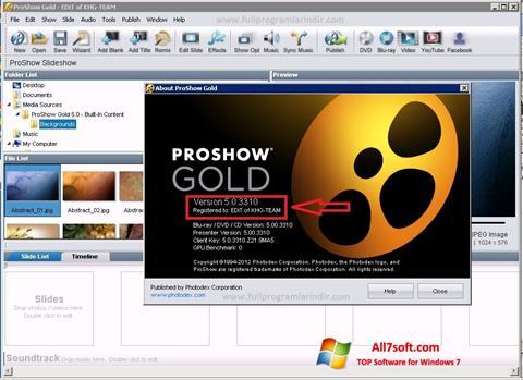 Skærmbillede ProShow Gold Windows 7