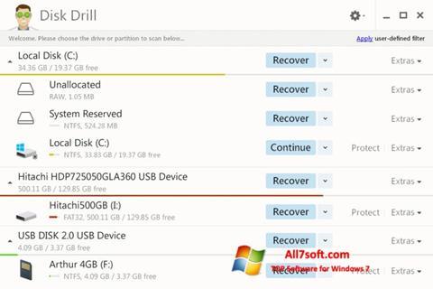 Skærmbillede Disk Drill Windows 7