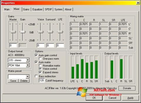 Skærmbillede AC3 Codec Windows 7