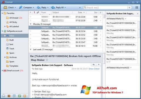 Skærmbillede FoxMail Windows 7