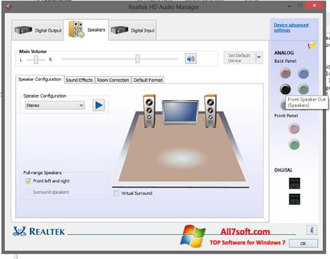 Skærmbillede Realtek HD Audio Windows 7