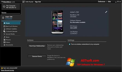 Skærmbillede BlackBerry Link Windows 7