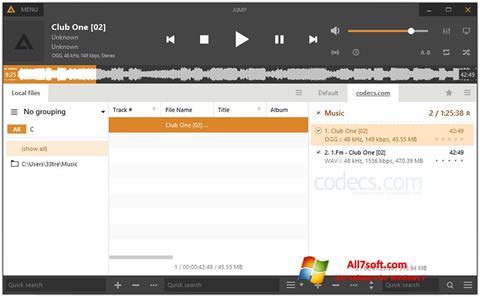 Skærmbillede AIMP Windows 7