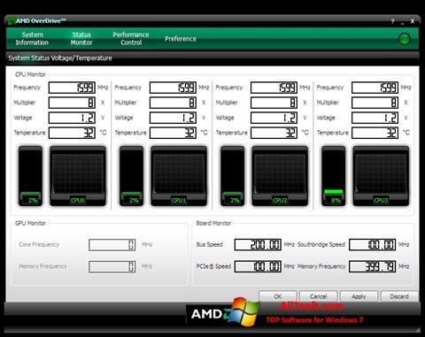 Skærmbillede AMD Overdrive Windows 7