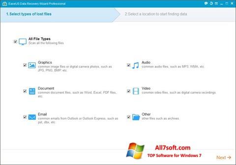 Skærmbillede EaseUS Data Recovery Wizard Windows 7